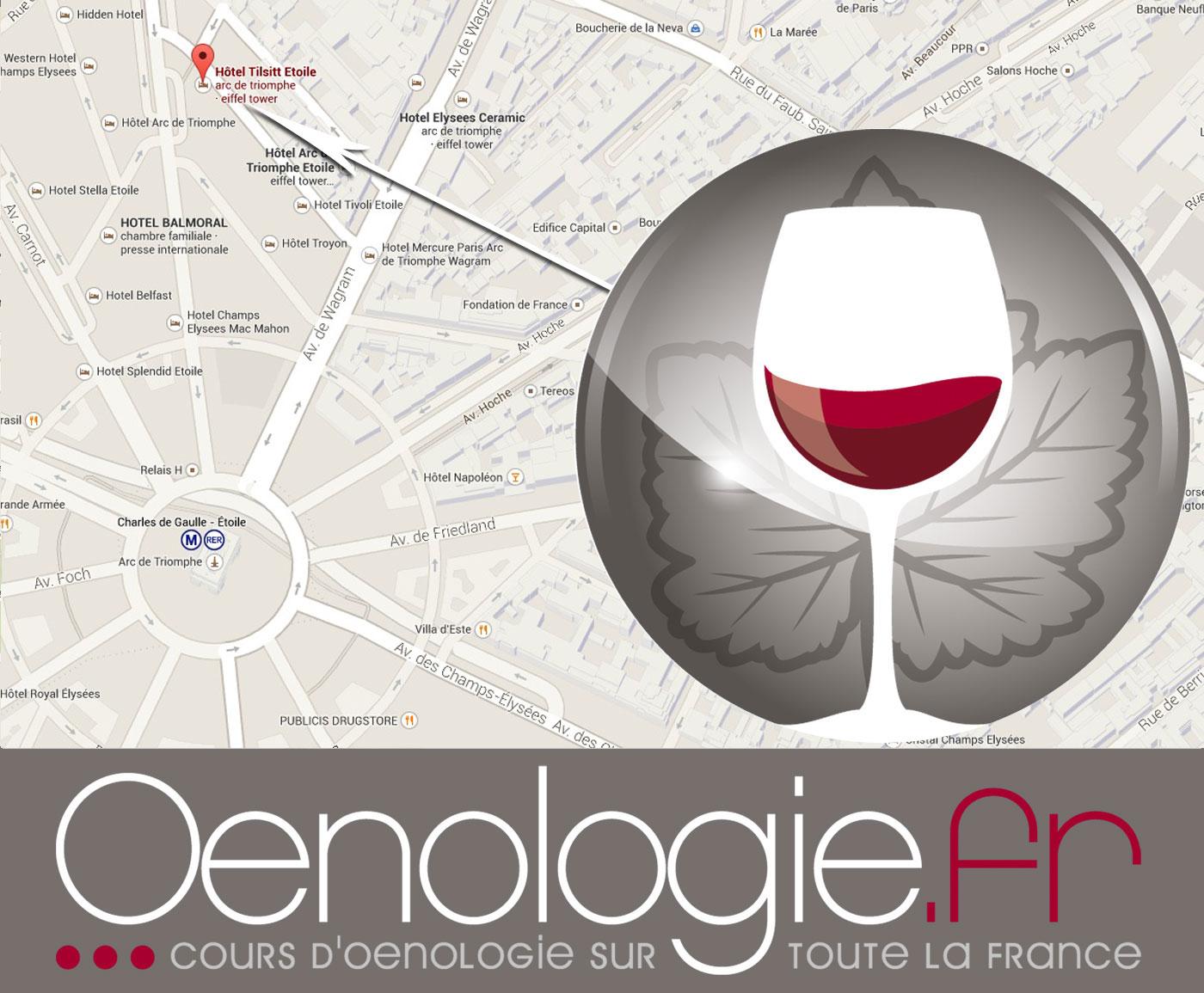 Plan pour accéder aux cours d'oenologie à paris avec oenologie.fr